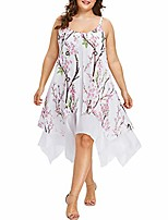 cheap -fashion women plus size floral printed chiffon asymmetrical caims sleeveless sexy casual beach party dress (xl, white)