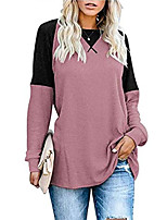cheap -cordat women's long sleeve loose fit tunic sweatershirts round neck color block comfy t shirt tops pink