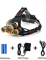 cheap -brightest led headlamp flashlight 8000 lumens, zoomable &waterproof with rechargeable 18650 batteries, 3 lights 4 modes headlight for reading outdoor running camping hiking fishing