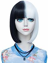 "cheap -probeauty betty collection lolita 14"" short straight bob style wig split colored women lolita anime cosplay wig + wig cap (black mix white)"