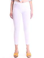 cheap -womens super stetchy pull on crop pants az 1213 white l