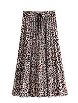 cheap -women's leopard print drawstring pleated a-line midi long skirts