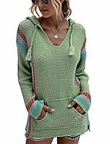 cheap -women v-neck striped sweater color block patchwork kniited hooded pullover jumpers jersey sweatshirt tops with pockets green