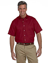 cheap -men's short sleeve wrinkle-resistant oxford button down dress shirt 56850 red x-large