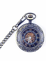 cheap -pocket watch men's and women's students hollowed out commemorative pocket watch blue clamshell retro mechanical pocket watch retro pocket watch for xmas