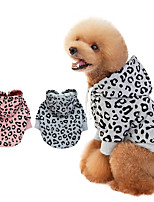 cheap -Dog Coat Hoodie Hooded Shirts Leopard Thin fleece Casual / Daily Dog Clothes Puppy Clothes Dog Outfits Warm Pink Gray Costume for Girl and Boy Dog Polyester S M L XL XXL