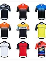 cheap -Men's Women's Short Sleeve Cycling Jersey Lycra Polyester Black / Silver Black / Red Blue+Orange Bike Jersey Top Mountain Bike MTB Road Bike Cycling Breathable Quick Dry Reflective Strips Sports