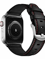 cheap -compatible with apple watch band 44mm 42mm vintage mens women black leather strap xl dressy silver buckle bands with silver adapters for iwatch series 6 5 4 3 2 1 se, 44mm 42mm leather watch band