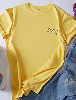 cheap -Women's T-shirt Color Block Cartoon Round Neck Tops 100% Cotton Basic Basic Top White Black Red
