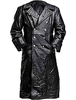 cheap -german classic officer ww2 military leather trench coat xxl (suitable for 46-48 inches chest) faux leather black