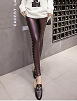 cheap -Women's Basic Streetwear Comfort Daily Going out Leggings Pants Solid Colored Full Length Black Blue Purple