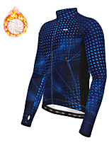 cheap -21Grams Men's Long Sleeve Cycling Jacket Winter Fleece Polyester Blue Green Geometic Bike Jacket Top Mountain Bike MTB Road Bike Cycling Thermal Warm Fleece Lining Breathable Sports Clothing Apparel