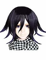 cheap -halloweencostumes ouma kokichi wig a keychain, anime danganronpa cosplay costume short hair for men boys halloween party