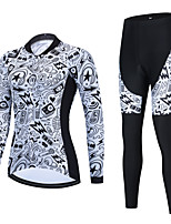 cheap -Women's Long Sleeve Cycling Jersey with Bib Tights Cycling Jersey with Tights Cycling Jersey Winter White Black Black / White Bike Breathable Quick Dry Sports Graphic Mountain Bike MTB Road Bike