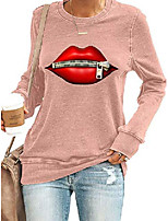 cheap -women sexy zipper lips print sweatshirts long sleeve round neck loose pullover tops pink s