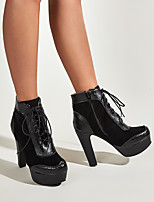 cheap -Women's Boots Pumps Round Toe Daily PU Synthetics Black