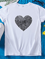 cheap -Women's T-shirt Heart Round Neck Tops 100% Cotton Basic Basic Top White Black Red