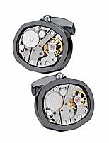 cheap -stainless steel kinetic working watch cuff links movement steampunk cufflinks (black)