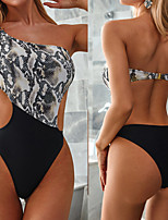 cheap -Women's Fashion Sexy Board Shorts Swimsuit Color Block Cut Out Padded Normal Off Shoulder Swimwear Bathing Suits White / One Piece / Padded Bras