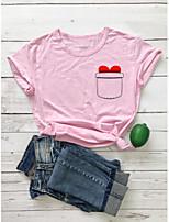 cheap -Women's T-shirt Heart Graphic Prints Print Round Neck Tops 100% Cotton Basic Basic Top White Black Purple