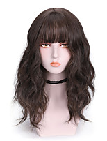 cheap -Synthetic Wig Curly With Bangs Wig Medium Length Brown Pink Blue Black Synthetic Hair 16 inch Women's Cool Fluffy Blue Pink