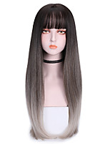 cheap -Synthetic Wig Straight With Bangs Wig Long Grey Green Purple Synthetic Hair 26 inch Women's Cool Color Gradient Dark Gray Purple