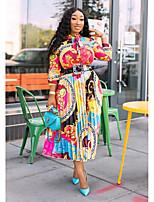 cheap -Women's Swing Dress Midi Dress - Long Sleeve Print Patchwork Print Fall Plus Size Casual 2020 Rainbow S M L XL XXL 3XL