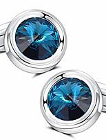cheap -mens cufflinks, elegant super shiny swarovski navy blue crystal cuff links set for men's business wedding party cufflinks gift