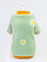 cheap -Dog Coat Sweatshirt Daisy Cute Thick Velvet Casual / Daily Winter Dog Clothes Puppy Clothes Dog Outfits Breathable Pink Green Costume for Girl and Boy Dog Plush S M L XL XXL