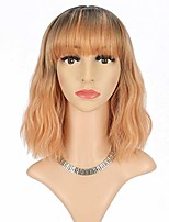 "cheap -ombre orange blonde wig with bangs synthetic cosplay party wig for women costume wigs (12"" ombre black to orange blonde)"