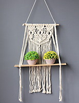 cheap -Hand Woven Macrame Tapestry Plant Hanger Holder Bohemian Boho Wall Hanging Ornament Art Decor Home Bedroom Living Room Decoration Nordic Handmade Tassel Cotton