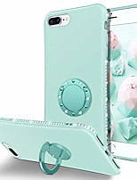 cheap -iphone 8 plus case, iphone 7 plus case, slim silicone | 360° ring holder kickstand soft rubber hybrid hard drop protection shockproof bumper non-slip cute girls women phone covers, mint green