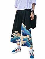 cheap -women's wide leg cropped pants  casual loose thin japanese harajuku wave print drawstring high waisted trouser
