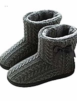 cheap -fluffy slippers boots women knitted wool slippers cosy faux fur lined winter warm slippers ankle boot bootie non-slip sole house shoes thermal warm mule clog indoor outdoor socks slippers xmas gifts