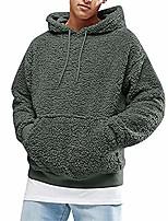 cheap -men's sherpa fleece pullover sweatshirt jacket casual hoodie winter warm sweater coat outwear with kangaroo pocket (green,large)
