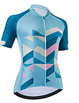 cheap -Women's Short Sleeve Cycling Jersey Sky Blue Stripes Bike Top Mountain Bike MTB Road Bike Cycling Breathable Quick Dry Sports Clothing Apparel / Stretchy / Athletic