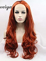 cheap -xiweiya orange red long wavy synthetic lace front wig with heat resistant fiber for women drag queen cosplay 24 inch
