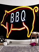 cheap -Wall Tapestry Art Deco Blanket Curtain Picnic Table Cloth Hanging Home Bedroom Living Room Dormitory Decoration Polyester Fiber Still Life Modern Neon Pig BBQ