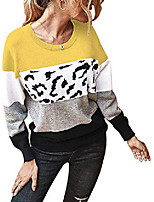 cheap -womens color block striped sweaters long sleeve crew neck extra soft knitted casual pullover jumper tops (a-yellow, large)
