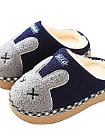 cheap -toddler/little kid fur lined indoor rabbit plush warm house slippers navy