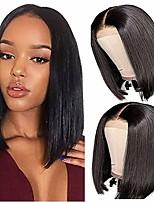 cheap -short straight bob wigs 4x4 lace frontal human hair wigs brazilian virgin straight hair bob wigs for black women 150% density natural black color (10 inch)