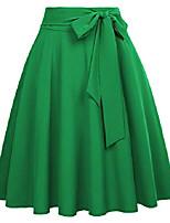 cheap -women a-line street skirts high waist vintage midi skirt green size m