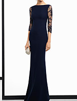 cheap -Sheath / Column Elegant Beautiful Back Wedding Guest Formal Evening Dress Boat Neck Half Sleeve Floor Length Stretch Satin with Lace Insert 2020