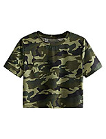 cheap -women's casual short sleeve crew neck basic crop t shirts top camo l