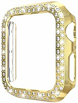 cheap -[1-pack] aladrs bling hard bumper frame compatible with apple watch 42mm case, double row shiny crystal diamonds protective cover for iwatch series 3 series 2 series 1 (gold 42mm)
