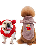 cheap -Dog Coat Hooded Shirts Tracksuit Animal Thick Velvet Casual / Daily Dog Clothes Puppy Clothes Dog Outfits Warm Purple Yellow Red Costume for Girl and Boy Dog Coral Fleece S M L XL XXL