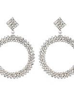 cheap -Women's Drop Earrings Earrings Circle Luxury Elegant Fashion Imitation Diamond Earrings Jewelry Silver For Wedding Anniversary Birthday Street Engagement 1 Pair