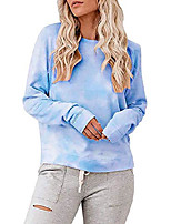 cheap -womens plus size tie dye sweatshirts oversized long sleeve crewneck loose casual pullover tops lake blue