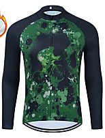 cheap -WECYCLE Men's Women's Long Sleeve Cycling Jersey Winter Fleece Polyester Green Bike Jersey Top Mountain Bike MTB Road Bike Cycling Fleece Lining Breathable Warm Sports Clothing Apparel / Stretchy