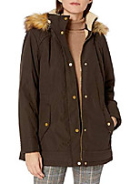 cheap -women's bonded poly parka with feather touch fill, olive, xl